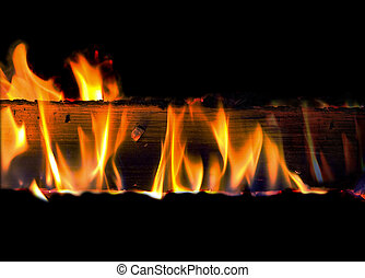 fire - burning board, isolated on black