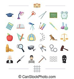 punishment, teaching, education and other web icon in cartoon style., mask, grating, crime, icons in set collection.