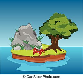 Desert island in ocean - Small desert island with tree and...