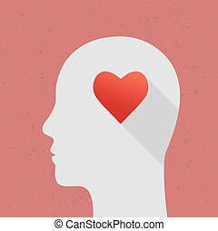 Love concept with head and heart shape