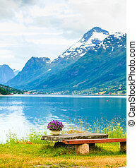 Mountains landscape, fjord and rest place, Norway - Tourism...