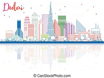 Outline Dubai Skyline with Color Buildings and Reflections.