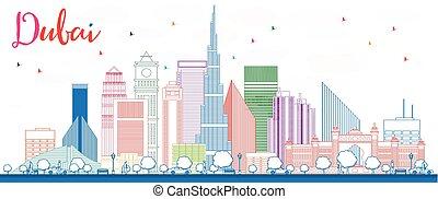 Outline Dubai Skyline with Color Buildings.