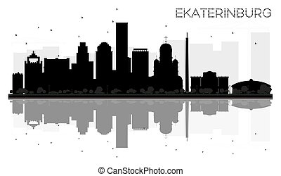 Yekaterinburg City skyline black and white silhouette with reflections.