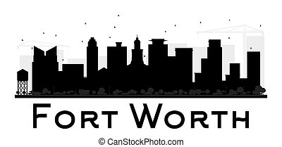 Fort Worth City skyline black and white silhouette. Simple...
