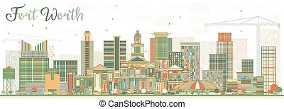 Abstract Fort Worth Skyline with Color Buildings. Vector...