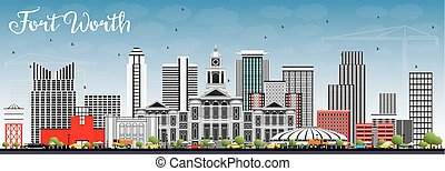 Fort Worth Skyline with Gray Buildings and Blue Sky. Vector...