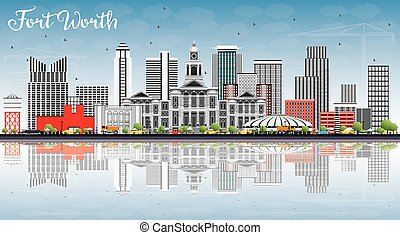 Fort Worth Skyline with Gray Buildings, Blue Sky and...