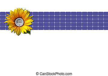 Solar panel, sunflower and socket - Sunflower with socket in...