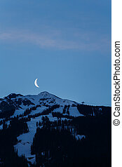Moon Rising Over Whistler Blackcomb