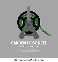 Side View Of Garden Hose Reel Vector Illustration