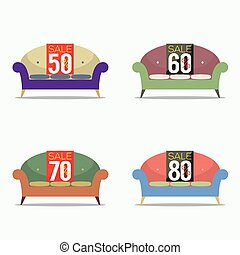 Set Of Vintage Sofas On Sale Vector Illustration