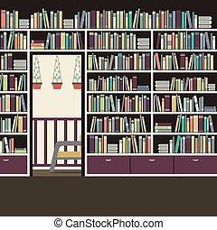 Vintage Interior Reading Room Vector Illustration