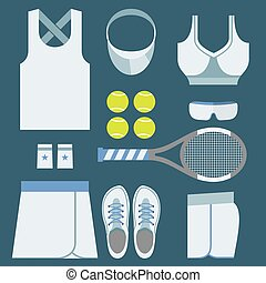 Top View Tennis Women's Gears Vector Illustration