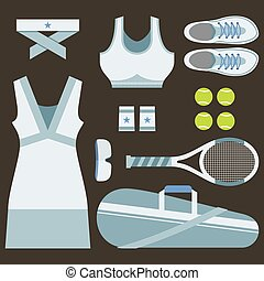 Top View Set Of White Tennis Women's Gears Vector...
