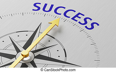Compass needle pointing to the word Success