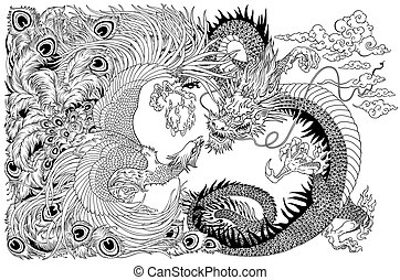 Chinese dragon and phoenix playing a pearl black white -...