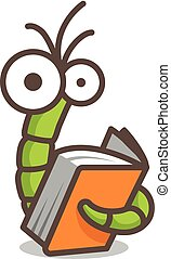 Funny green worm reading an orange book - Funny character...
