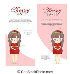 Set of cute kawaii girls in cherry dress with decoration in hair isolated on white background.