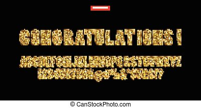 Gold Alphabetic fonts and numbers. Isolated on black...