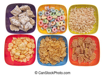 Variety of Breakfast Cereal in Vibrant Bowls Isolated on...