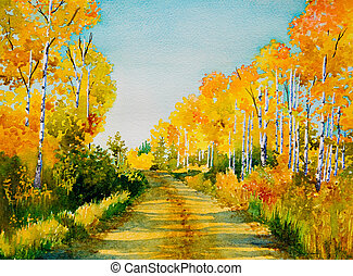 Poplar Road - An original watercolor painting inspired by a...