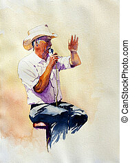 The Auctioneer is an original watercolor of a man conducting...
