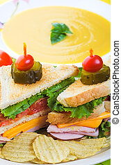 Soup and Sandwich - A delicious clubhouse sandwich, served...