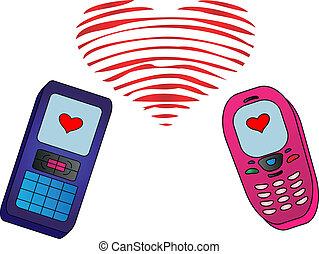 Phones-enamoured isolated - Illustration: mobile phones,...