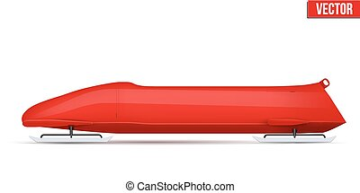 Classic Bobsled for four athletes. Side view. - Bobsled...