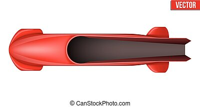 Classic Bobsled for four athletes. Top view. - Bobsled Sport...