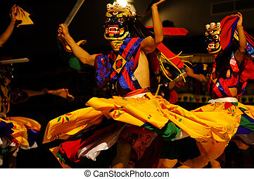 Lama Dance - The Kingdom of Bhutan First festival of...