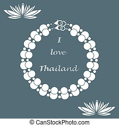 Stylized icon of pearl necklace and lilies. Design for...