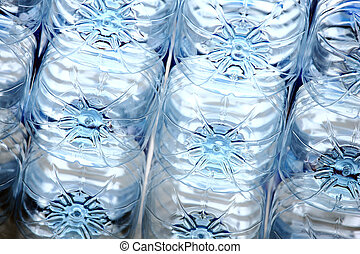 Rows of plastic bottles