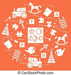 Cute vector illustration with variety of children's toys...