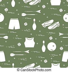 Seamless pattern with variety goods for sports. Sports theme.