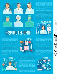Medical personnel and hospital doctor poster