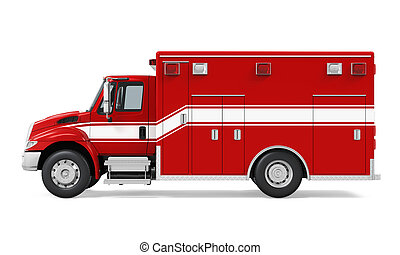 Ambulance Emergency Fire Truck Isolated