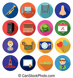 agriculture, industry, business and other web icon in flat style.pain, medicine, rest, icons in set collection.