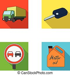 Truck with awning, ignition key, prohibitory sign, engine oil in canister, Vehicle set collection icons in flat style vector symbol stock illustration web.