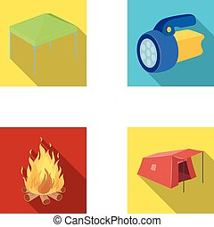 Awning, fire and other tourist equipment.Tent set collection icons in flat style vector symbol stock illustration web.