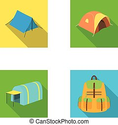 Backpack and other kinds of tents.Tent set collection icons in flat style vector symbol stock illustration web.