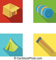 Tent with awning, ax and other accessories.Tent set collection icons in flat style vector symbol stock illustration web.