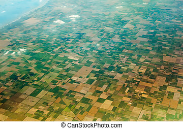 Aerial view of the fields.