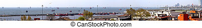 Istanbul. Panorama. Ships are on the roads in the Yellow Sea