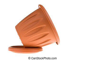 Empty Flower Pot isolated on white background