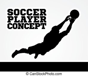 Goal Keeper Soccer Player Concept - A silhouette soccer...