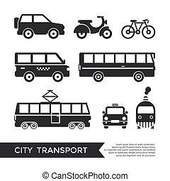 Digital vector black city transport