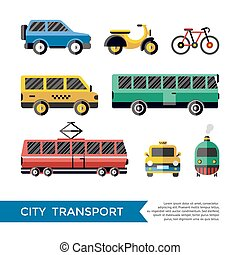 Digital vector blue red yellow city transport icons set with...