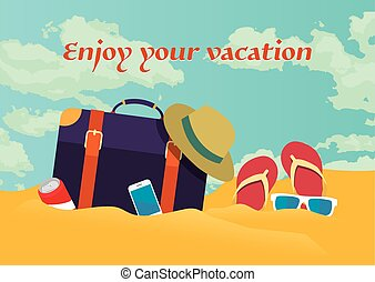 Summer holidays vector illustration,flat retro design beach on the traveling bag and objects, concept